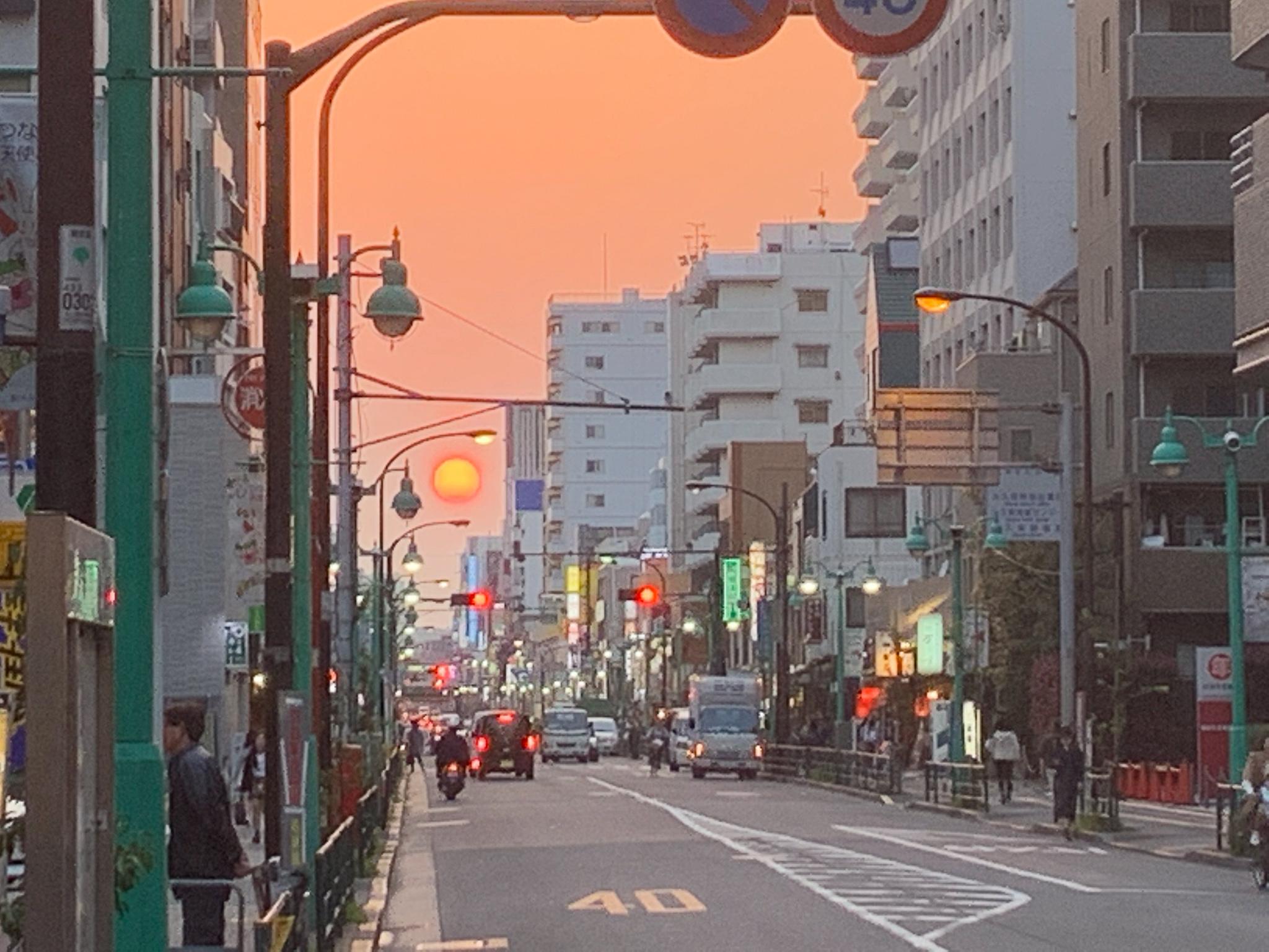 大久保通りの夕日